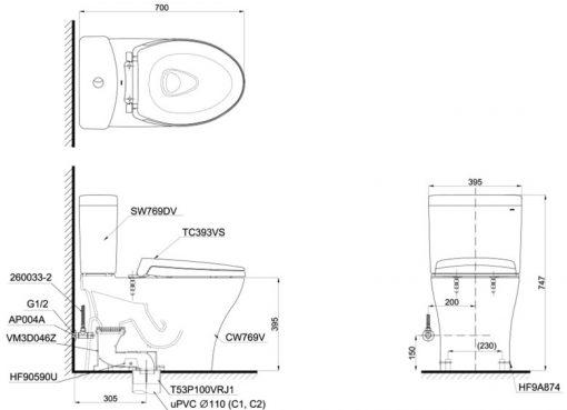 Bản vẽ chi tiết bồn cầu TOTO CS769DRT2