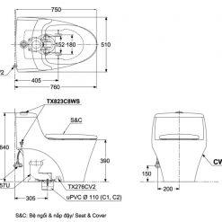 Bản vẽ chi tiết bồn cầu TOTO CW823RA