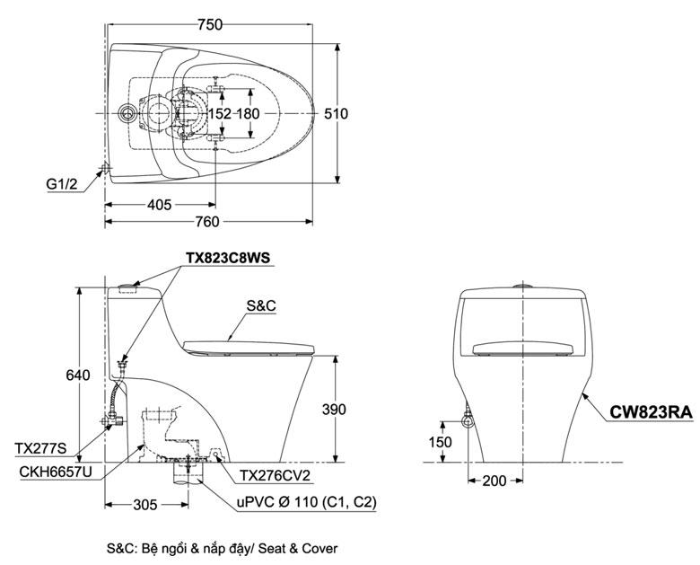 Bản vẽ chi tiết bồn cầu TOTO CW823RAT8
