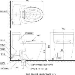 Bản vẽ bồn cầu TOTO MS636