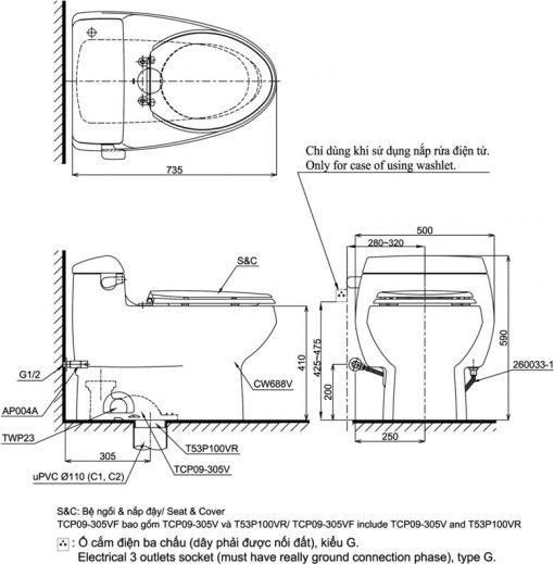 Bản vẽ kỹ thuật bồn cầu TOTO MS688