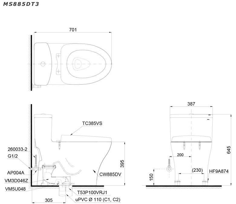 Bản vẽ chi tiết bồn cầu TOTO MS885DT3