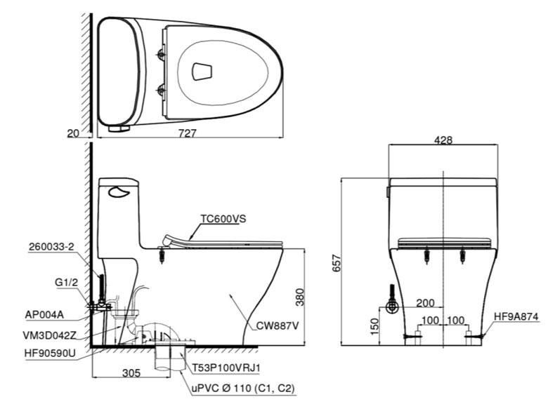 Bản vẽ bồn cầu TOTO MS887