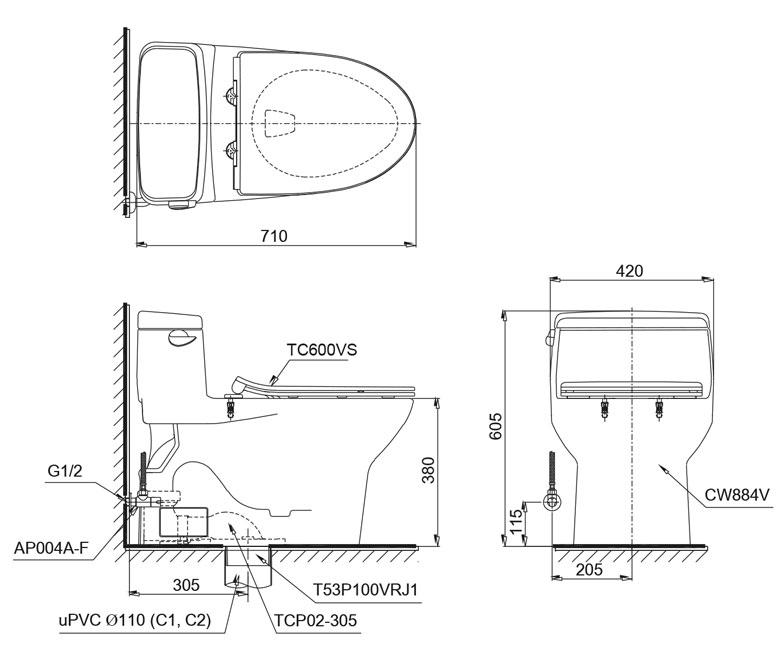 Bản vẽ kỹ thuật bồn cầu TOTO MS884