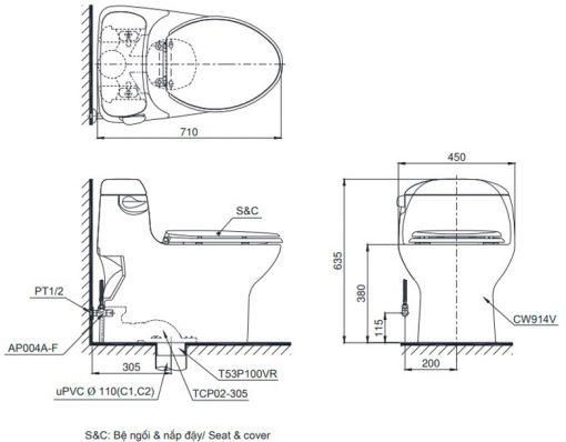 Bản vẽ chi tiết bồn cầu TOTO MS914RT8