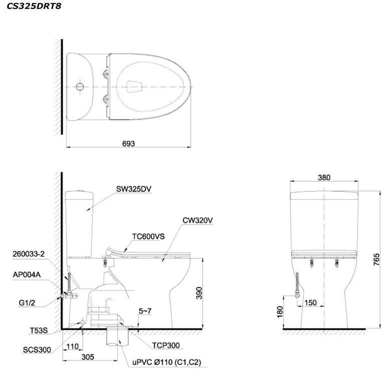 Bản vẽ bồn cầu TOTO CS325DRT2