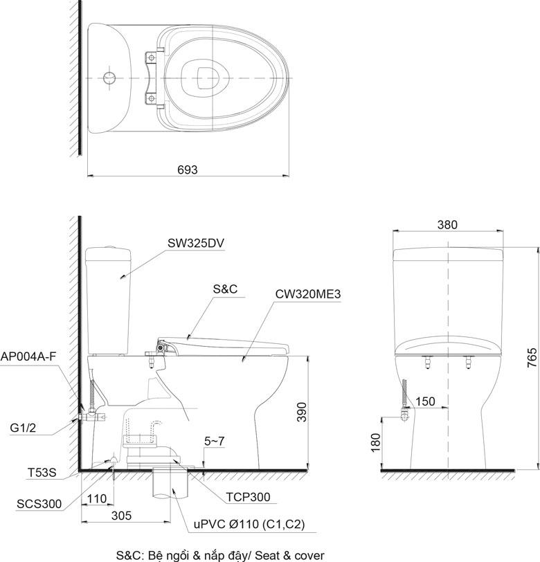 Bản vẽ chi tiết bồn cầu TOTO CS325DRT3