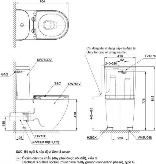 Bản vẽ chi tiết bồn cầu TOTO CS761PDT5