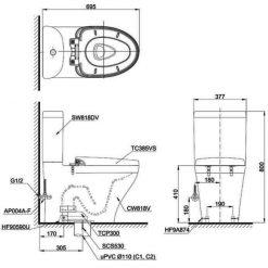 Bản vẽ chi tiết bồn cầu TOTO CS818DT3