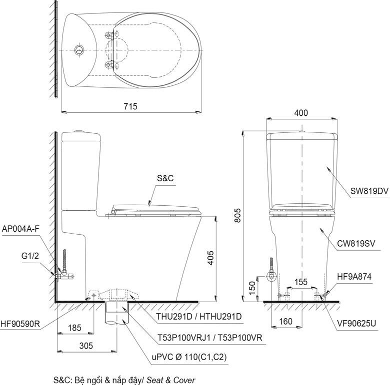 Bản vẽ chi tiết bồn cầu TOTO CS819DST2