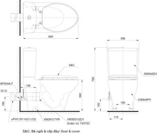 Bản vẽ chi tiết bồn cầu TOTO CS945PDT8