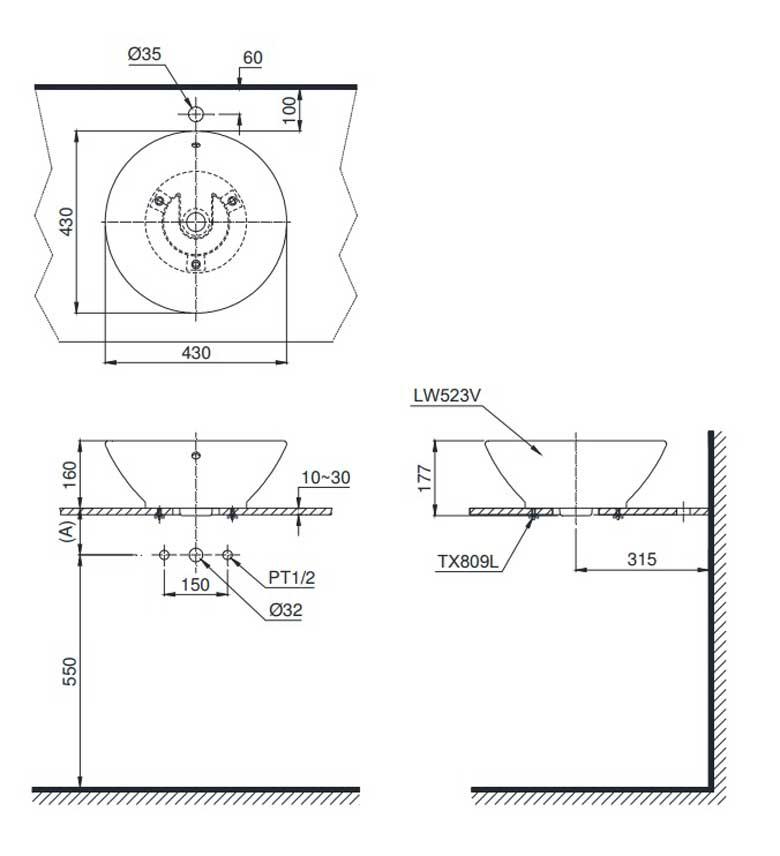 Bản vẽ kỹ thuật chậu rửa mặt TOTO LT523R đặt bàn