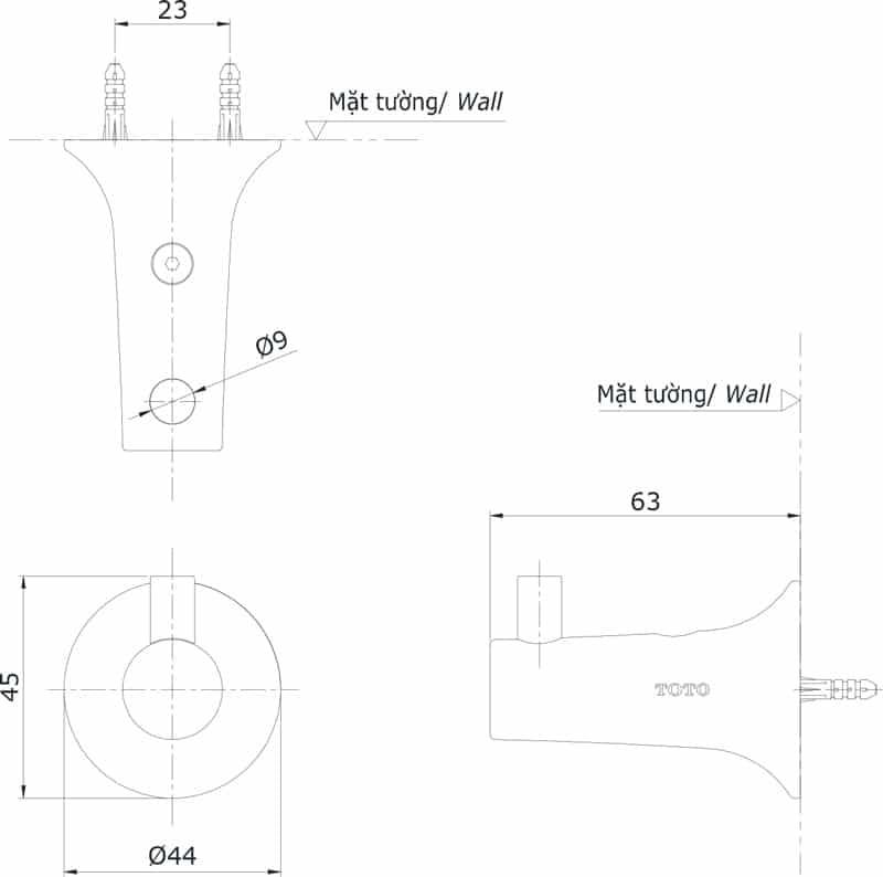 Bản vẽ móc áo DSH01